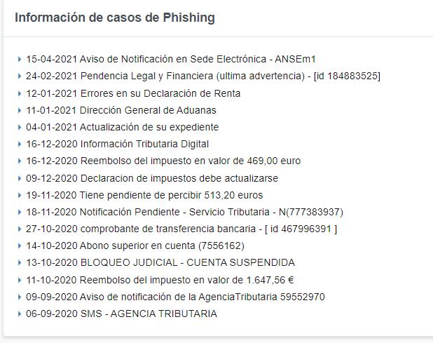 Avisos de phishing Agencia Tributaria