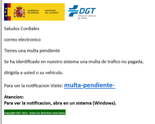 Ejemplo de phishing de la DGT